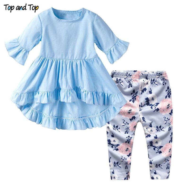 Newborn Girl T-Shirts Short-Sleeve Toddler Infant Summer Pants Top And 2pcs Petal