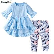 La parte superior y superior bebé niñas conjuntos de ropa de verano de 2019  bebé pétalo camisetas de manga corta pantalones 2 pi. 5e109f76f1a