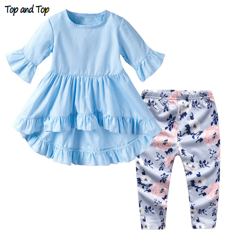 Top And Top Baby Girls Clothing Sets 2019 Summer Infant Petal Short Sleeve T-shirts Pants 2pcs Toddler Newborn Girl Clothes