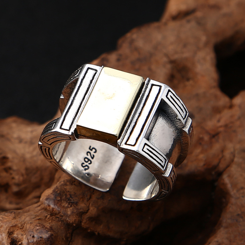 Pure 925 Sterling Silver Open Ring for Men Women Jewelry New Fashion Thai Silver Punk Rings Adjustable Jewelry Birthday Gifts