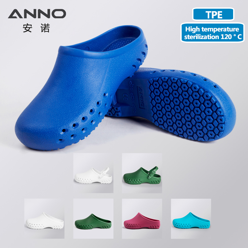 ANNO 의료 신발 클린 룸 작업 신발 스트랩 남성 여성 수술 방해 실험실 운영 슬리퍼 플립 플롭