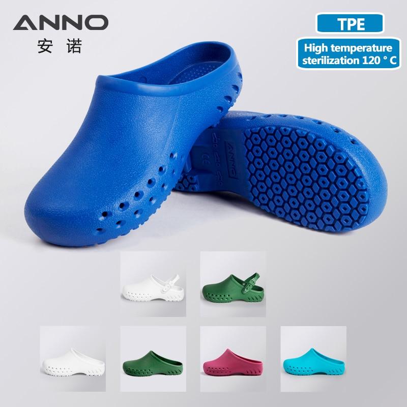 ANNO Ιατρικά παπούτσια καθαρό δωμάτιο εργασίας παπούτσια με λουράκι ανδρών γυναικών χειρουργική φράξει με εργαστήρια χειρουργικά παντόφλες Flip Flop