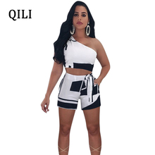QILI 2018 Summer One Shoulder Rompers Women Playsuits Plaid Printed Short Two Piece Set Sexy Bow Design Fashion Clothing