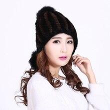 Норка меховая шапка Реального норки вязаная шапка Шапка С Лисой Меха Помпонами Зима Вязаная шапка женская красивый подарок