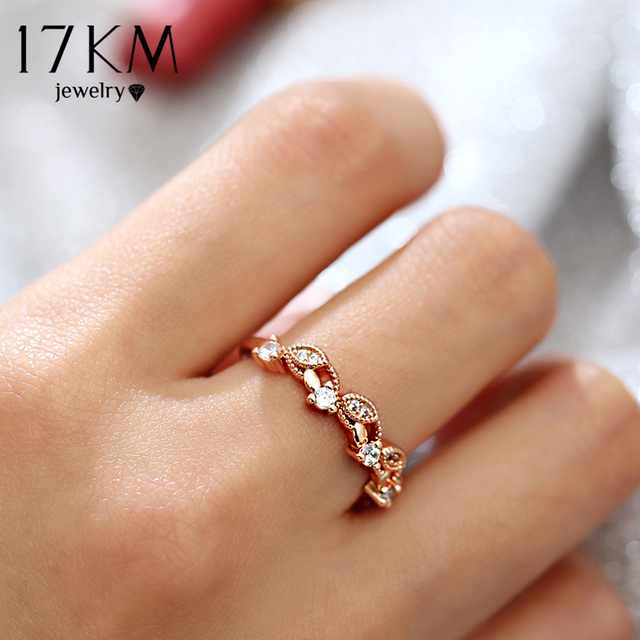 17KM Fashion Weave Morganite Rings For Women 2 Design Cubic Zirconia Rose Gold S