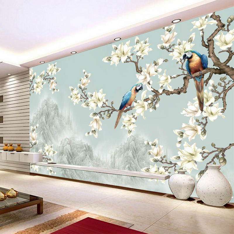 Chinese style simple elegant flower bird figure 3d for Simple elegant wallpaper