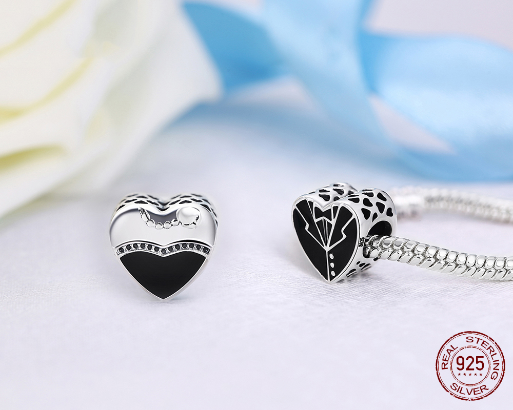 925 Sterling Silver Bead Love Heart Dress Glaze Beads For Original Pandora Charms Bracelet & Bangle DIY Jewelry PCY059