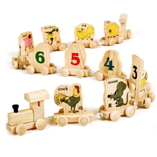 Деревянный Поезд Игрушки Детские Цифровой Количество Животных Развивающие Игрушки Китайского Зодиака Собирает Игрушки для Детей Дети