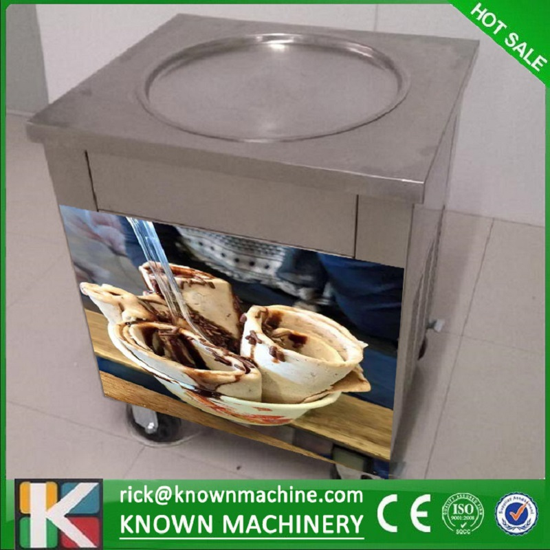 The Hot Sale CE Certified Stainless Steel Single Round Pan Fried Ice Cream Roll Machine With Four 360 Degree Wheels