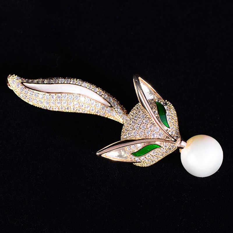 Zlxgirl Classico Verde Dello Smalto Degli Occhi Volpe Animale forma di rame hijab accessorio perfetto zircone cubico spille sciarpa pin borse gioielli