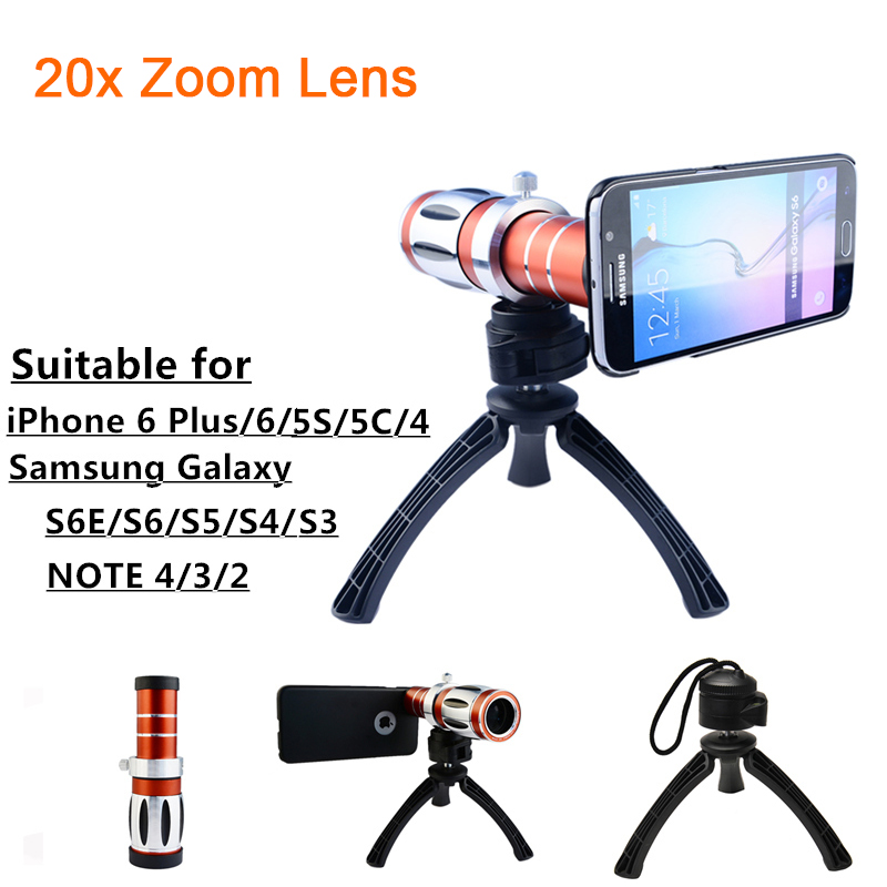 High-end 20x Zoom Telephoto Telescope Lens Kit For Samsung Galaxy S3 S4 S5 S6 S7 edge Plus note 3 4 5 Tripod Phone Camera LensesHigh-end 20x Zoom Telephoto Telescope Lens Kit For Samsung Galaxy S3 S4 S5 S6 S7 edge Plus note 3 4 5 Tripod Phone Camera Lenses
