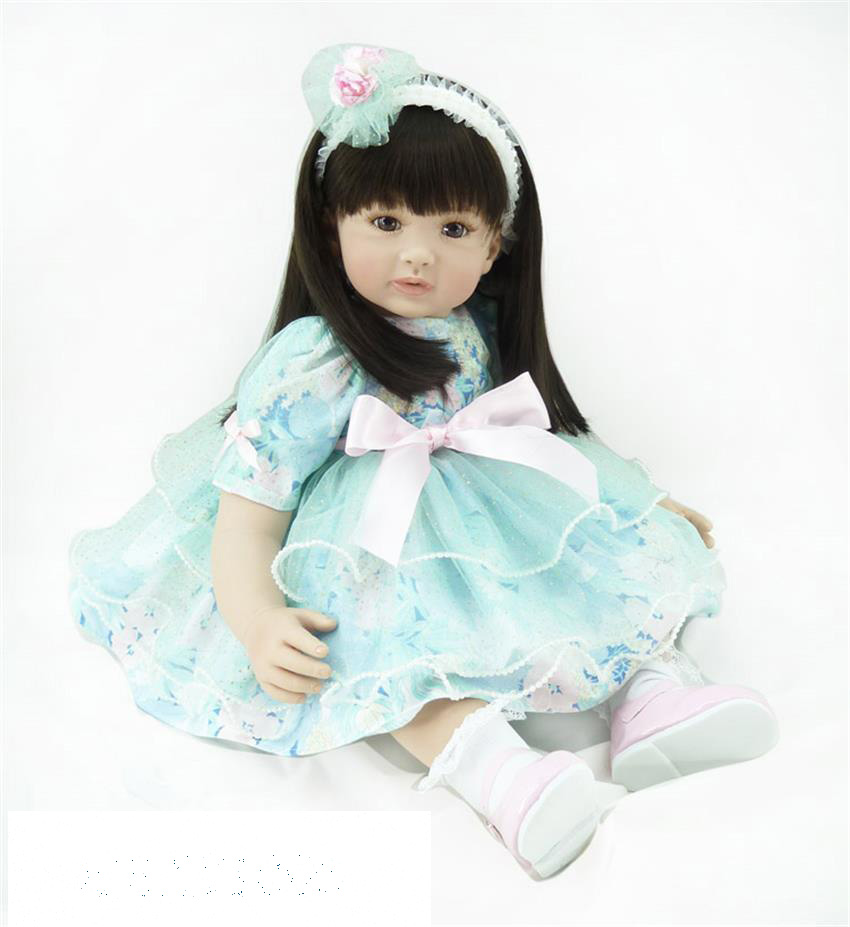 60cm Silicone Vinyl Reborn Like Real Baby Doll Toy 24inch Princess Toddler Girl Babies Doll Birthday Gift Early Education Toy handmade chinese ancient doll tang beauty princess pingyang 1 6 bjd dolls 12 jointed doll toy for girl christmas gift brinquedo