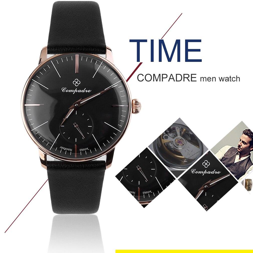 ФОТО Compadre Brand Luxury Men Mechanical Movt Watch Ultrathin Dial Waterproof Luminous Pointer Leather Band Wristwatch