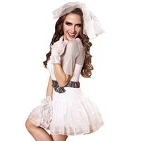 Halloween Fancy Dress Costumes Princess Women Snow White Corpse Bride Sexy Bride Costume Girls White Tutu Dress
