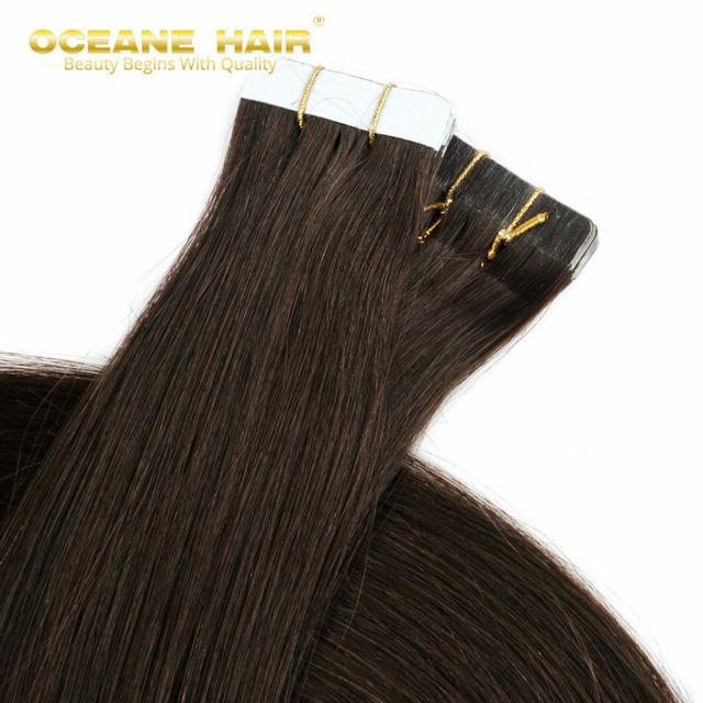 Tape In 2 Dark Brown Remy Human Hair Tape Extensions Invisible Skin