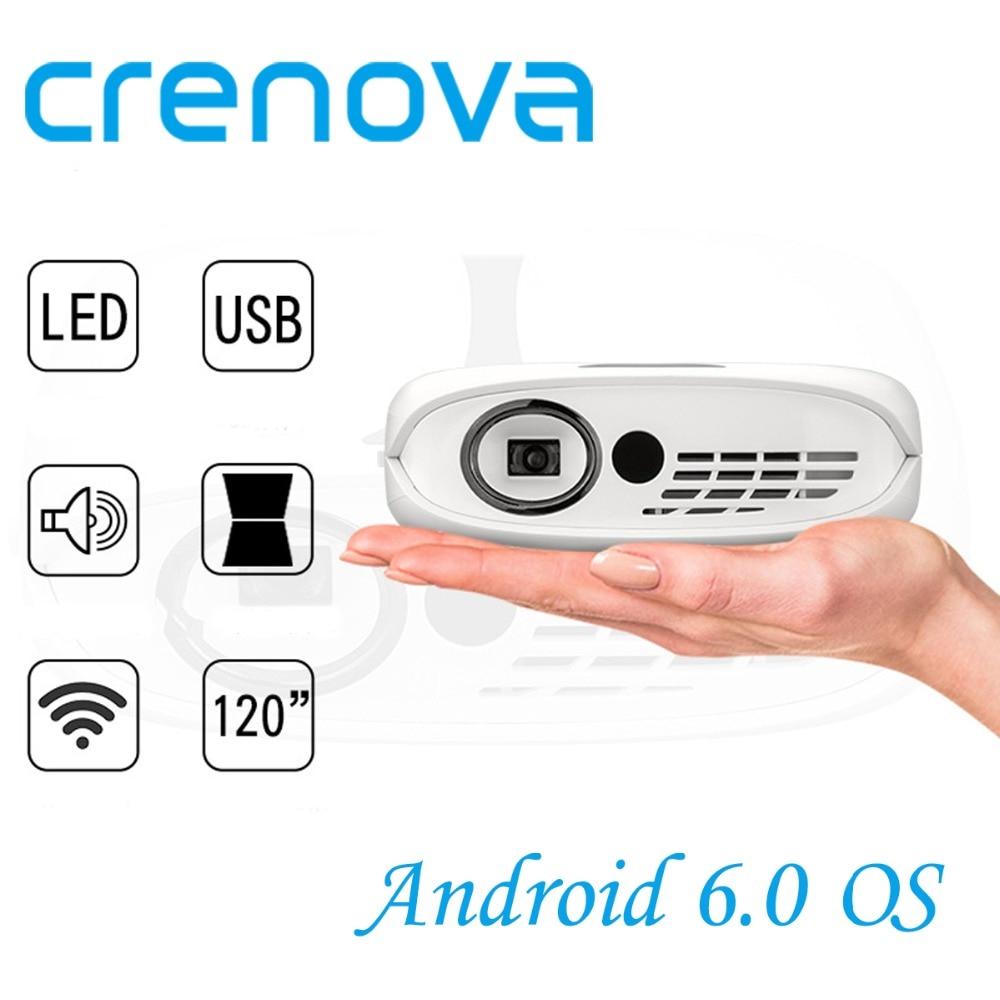 CRENOVA Proiettore DLP Per Full HD 1080 p Con WIFI Android 6.0 OS Film Home Theater Proiettore Portatile A LED Con batteria Beamer