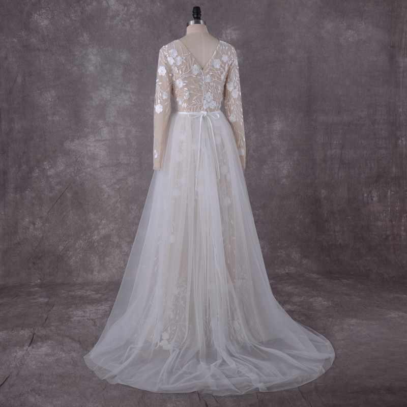 Laço do vintage Da Sereia Vestidos de Noiva Manga Comprida 2018 LORIE Robe peça 2 Mergulhando Vestidos de Casamento Champagne Vestido De Noiva De Luxo
