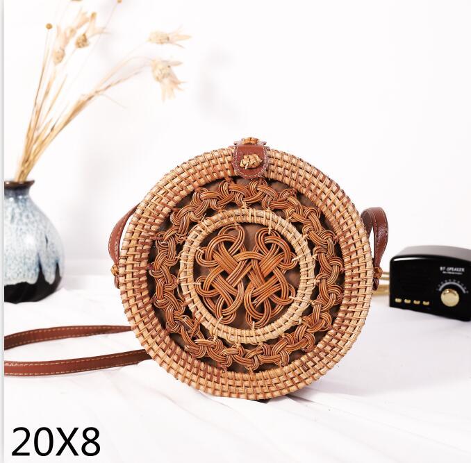 Woven Rattan Bag Round Straw Shoulder Bag Small Beach HandBags Women Summer Hollow Handmade Messenger Crossbody Bags 22