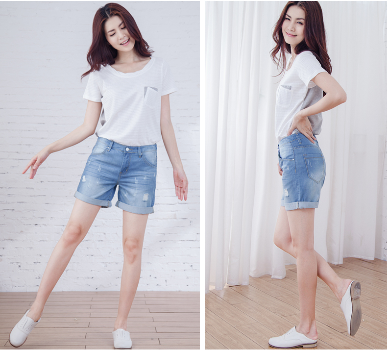 Aliexpress.com : Buy High waist denim shorts hole female knee ...