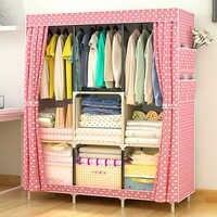 Staygoldผ้าตู้เสื้อผ้าผ้าตู้เสื้อผ้าประกอบท่อเหล็กเสริมโครงเหล็กโมเดิร์นที่เรียบง่ายฝุ่นตู้เก็บ