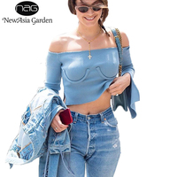 NewAsia Garden Off Shoulder Knitted Crop Top Autumn Spring Women Split Long Sleeve T Shirts Strapless