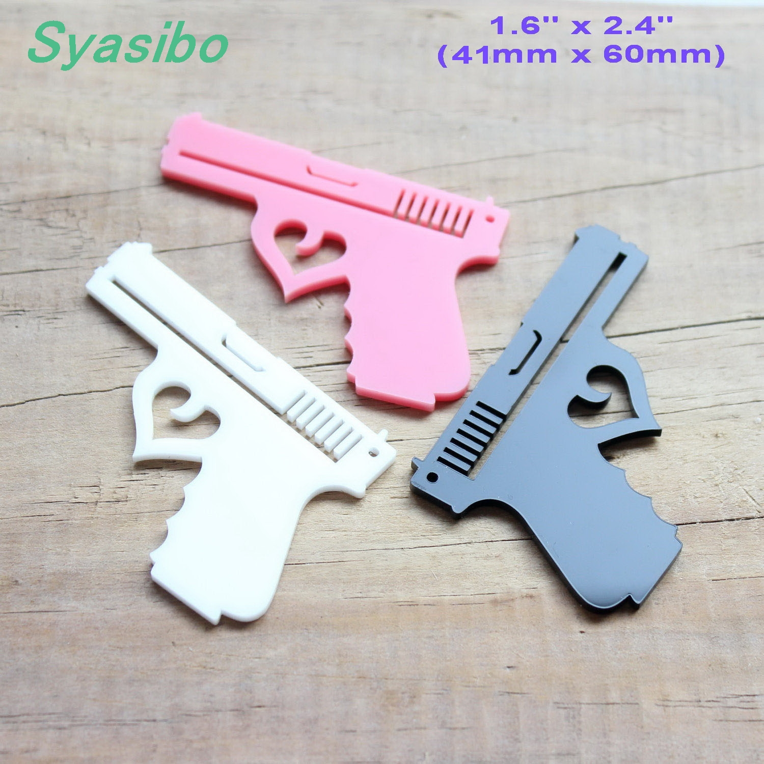 60mm Acrylic Gun Ornaments Earrings Accessories Laser Cutout 2.4