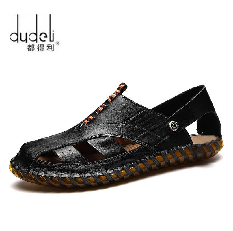 abcdac32c84ec DUDELI Mens Sandals Leather Sandals Brand Men Casual Shoes Genuine Split  Leather Sneakers Men Slippers Flip