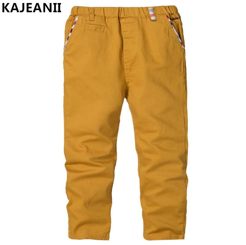 KAJEANII 2017 Spring Autumn Boy Pants Cotton Trousers Leisure Kids School Student Children Pants For 2-8T Color Beige White