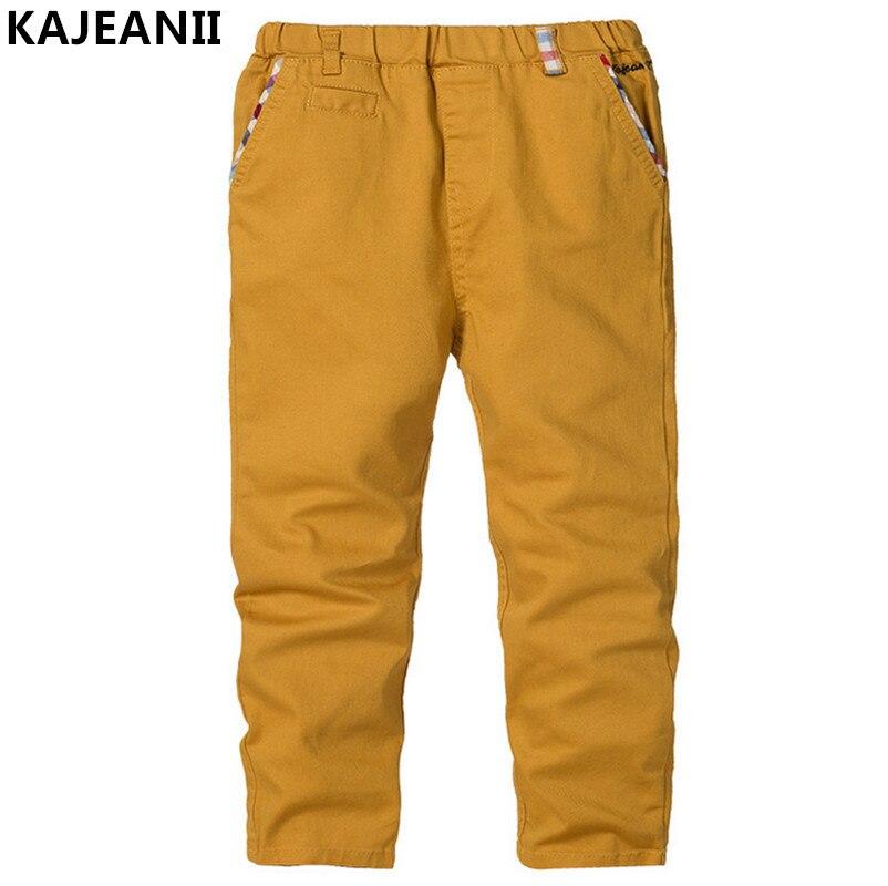 KAJEANII 2017 Spring Autumn Boy Pants Cotton Trousers Leisure Kids School Student Children Pants For 2 8T Color Beige White