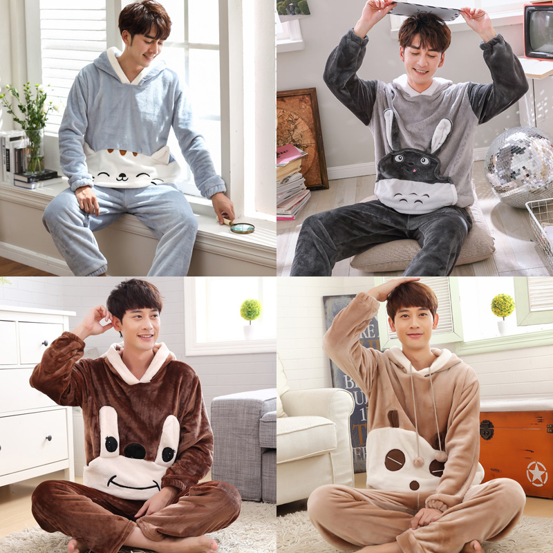 5XL 6XL sleepwear women cartoon coral fleece lounge blue Autumn winter men thick flannel   Pajamas     sets   Hooded plus size S-4XL