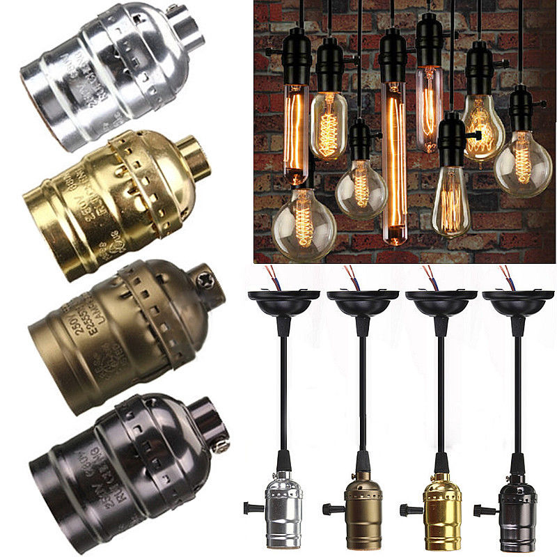 retro vintage edison e26 e27 screw bulb aluminum shell base lamp bulb holder pendant lighting. Black Bedroom Furniture Sets. Home Design Ideas