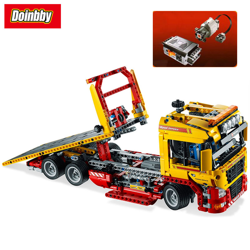 LEPIN 20021 Technic Series Flatbed Truck with Motor Building Block Set Bricks Kits Toys 1143Pcs Compatible 8109 2017 enlighten city series garbage truck car building block sets bricks toys gift for children compatible with lepin