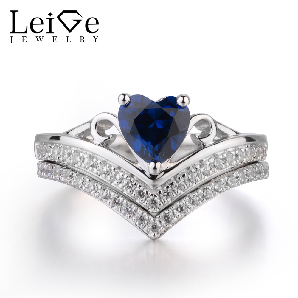 Leige Jewelry Blue Sapphire Ring Promise Ring September Birthstone Heart Cut Blue Gemstone Genuine 925 Sterling Silver Ring GiftLeige Jewelry Blue Sapphire Ring Promise Ring September Birthstone Heart Cut Blue Gemstone Genuine 925 Sterling Silver Ring Gift