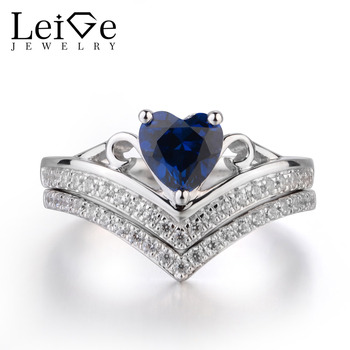 Leige Jewelry Blue Sapphire Ring Promise Ring September Birthstone Heart Cut Blue Gemstone Genuine 925 Sterling Silver Ring Gift