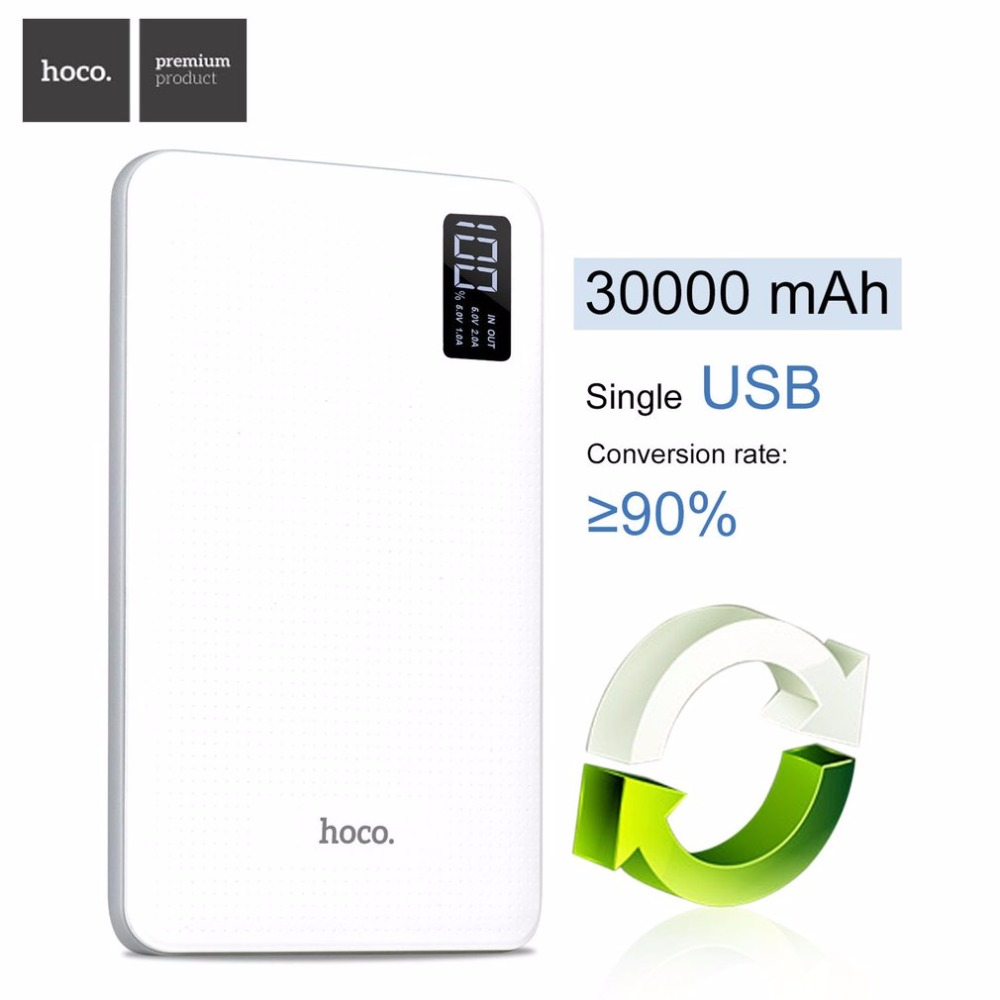 HOCO B24 30000mAh Power Bank Portable Charger With Display Triple USB Mobile Phone External Battery For
