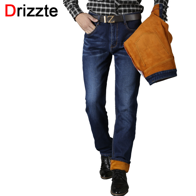 ФОТО Drizzte Men Jeans Winter Jeans Plus Size Fleece Flannel Stretch Denim Fashion Business Work Trousers Pants Jeans for Man