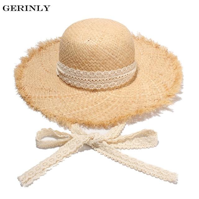Gerinly Sombreros para las mujeres blanco cinta Encaje up rafia sombrero de  paja grande ala playa 5b75c19d2330