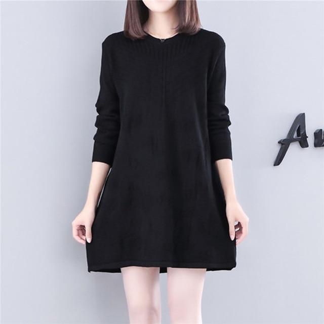 42506bd8f56 YICIYA women black long sleeve sweater dress winter oversize plus size  large big t shirt dresses