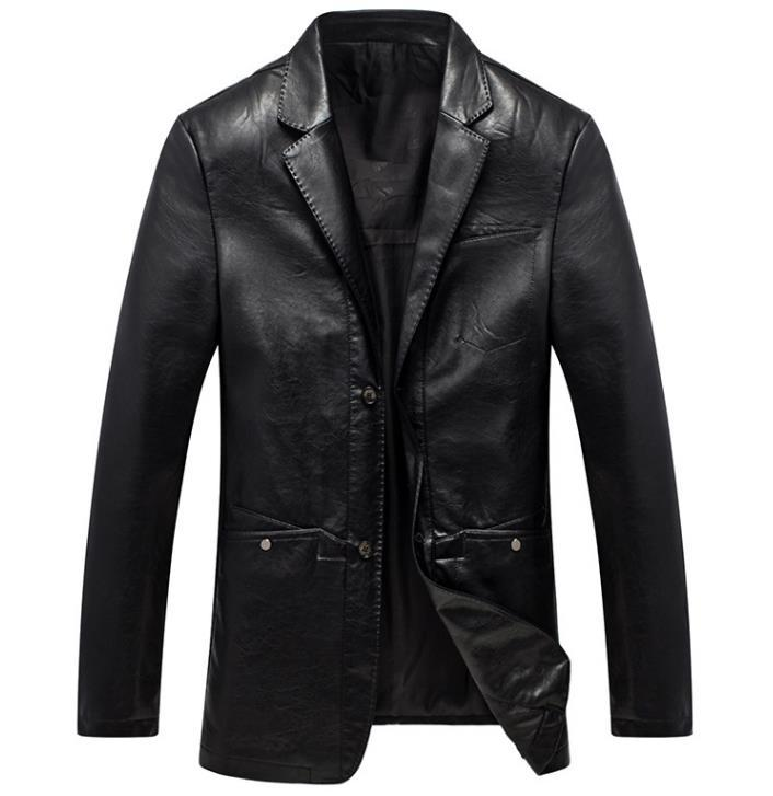 2018Mens leather jacket Fall New Mens Business Casual Leather Jacket Mens Fashion Slim Leather Jacket Large Size M-3XL