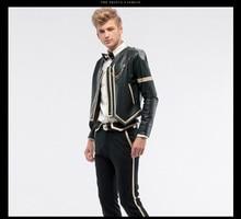 Free Shipping men's male fashion custom autumn jacket men wedding ball leather jacket slim long sleeved 14060 custom-made