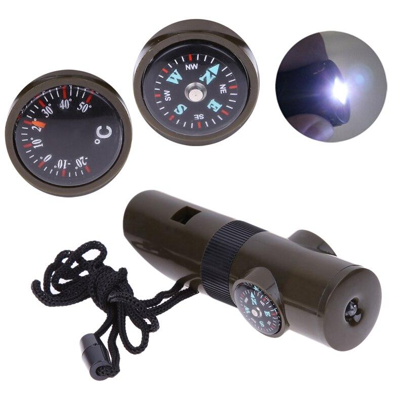7 в 1 Открытый выживания Tool Kit Свистки + Компасы + термометр + увеличительное Стекло + светодиодные Отдых на природе аварийного инструмент