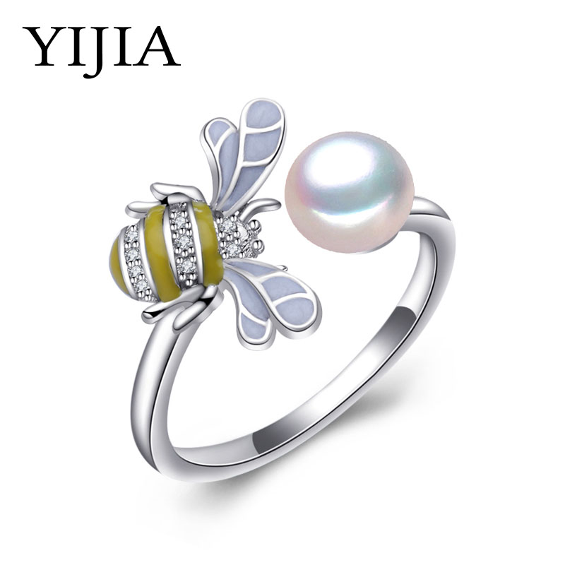 YIJIA female ring Pearl Adjustable Animal Rings White