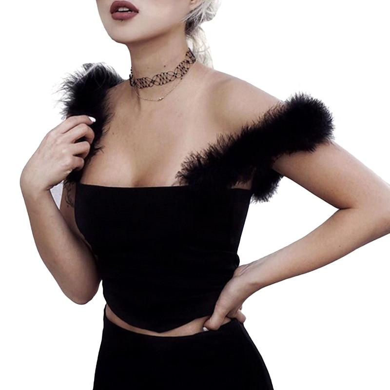 2017 Faux Fur Crop Tops Women Ladies Black Summer Camis Tops Female Crop Tops  Feminino Sexy Backless Camisole Femme F4
