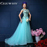 Custom Made Tulle Green Embroidery Beading O-Neck Floor-Length Court Train Mermaid Evening Dress Formal Gowns Long Prom Dress
