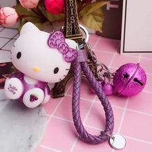 Cute Hello Kitty Doll Keychain and Leather Rope Small Bell Key Ring Holder Women Car Charm Purse Bags Handbag Key Chains Keyring