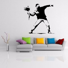 Banksy Vinyl Wall Decal Patriot Decor Removable Flower Man Sticker for Home AY0156