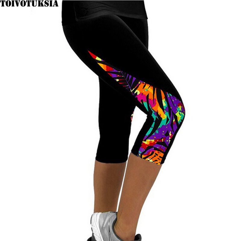 TOIVOTUKSIA Kvinnor Leggings Capris Trykt Svart Mjölk Clzas deportivas mujer Capri Sommar 7 Leggins