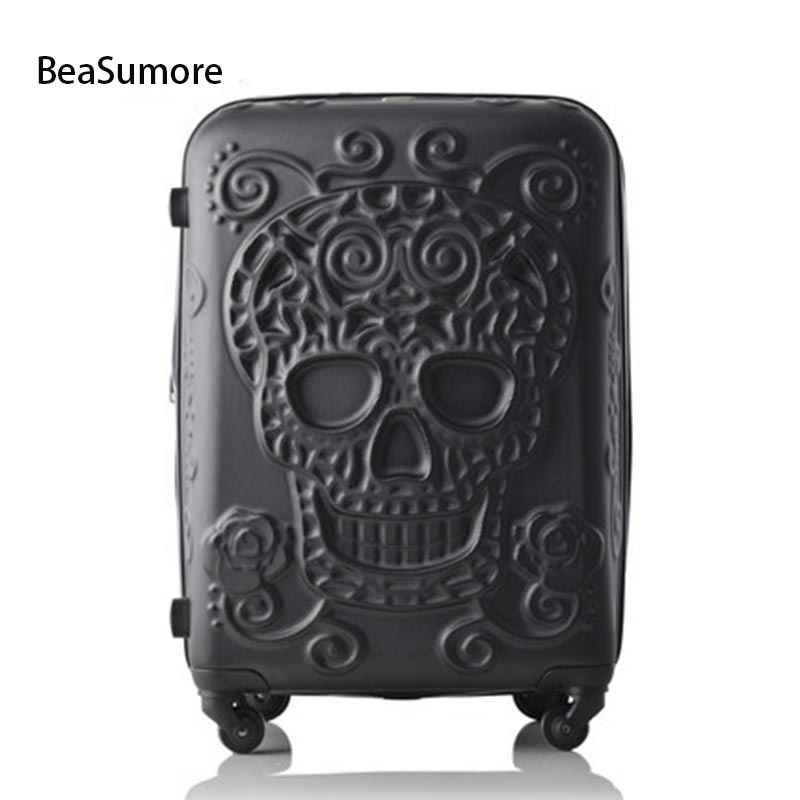 BeaSumore original 3d skull Brand Rolling Luggage Spinner 28 inch Women men High capacity Suitcase Wheels