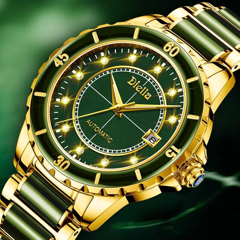 Montre mécanique automatique pour hommes en Jade émeraude, saphir, spirale, aiguilles lumineuses, calendrier, montres pour hommes, marque suisse