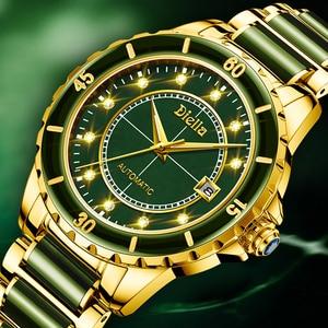 Image 1 - Top zümrüt yeşim otomatik erkek mekanik saat safir sarmal aydınlık eller takvim erkekler kol saatleri İsviçre marka